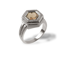 Rauh Topaz Diamond Hexagon Ring