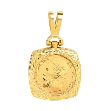Gold 5-ruble Coin Pendant with Engraving. Body Icon Pendant