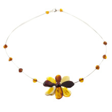 Amber Flower String Necklace