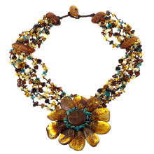 Multicolored Amber Necklace with Turquoise