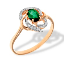 Emerald and Diamond Swirl Ring. 585 (14kt) Rose Gold