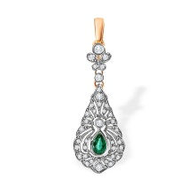 Certified Emerald and Diamond Pendant. Red Carpet Event Pendant