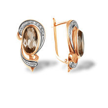 Diamond and Rauh Topaz Oval Earrings