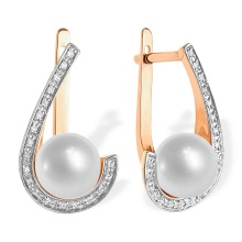 Pearl and Diamond Open Loop Earrings. 585 (14kt) Rose Gold, Rhodium Detailing