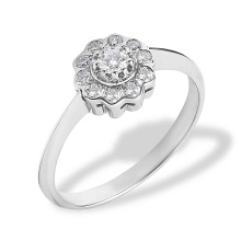 Raspberry Motif Diamond Engagement Ring. 585 (14kt) White Gold