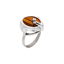 Tiger Eye and CZ Silver Ring