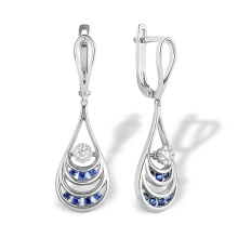 Sapphire and Diamond Dangle Earrings. Hypoallergenic 585 (14K) White Gold