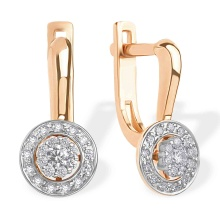 CZ Halo Leverback Earrings. 585 (14K) Rose and White Gold