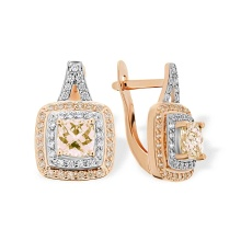 Cushion Fancy Yellow Swarovski CZ Earrings. 585 (14kt) Rose Gold, Rhodium Detailing