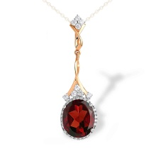Oval-Shaped Czech Garnet Cocktail Pendant. 'Empress' Series, 585 Rose Gold