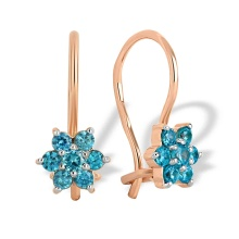 Aquamarine-like CZ Snowflake Kids' Earrings. 585 (14kt) Rose Gold, Rhodium Detailing