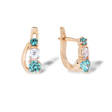Kids Rose Gold Earrings. Blue Topaz-like and Diamond-like CZ