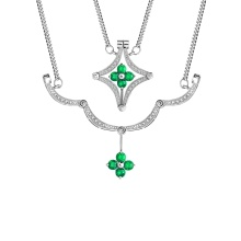 Emerald and Diamond Convertible Necklace. 585 (14kt) White Gold