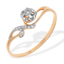 """Rosebud"" Diamond Ring. 585 (14kt) Rose and White Gold"