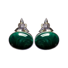 Malachite Silver Rose Arc Earrings