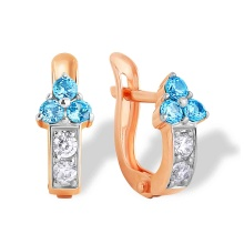 Blue Topaz-like CZ Arrow Kids Earrings. 585 (14K) Rose Gold