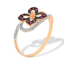 Butterfly-inspired Ruby Ring. Hypoallergenic 585 (14K) Rose Gold