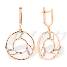 Circles of Love Dangle Earrings. 585 (14kt) Rose Gold, Rhodium Detailing