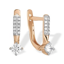 CZ Lever Back Kids Earrings. 585 (14kt) Rose Gold, Rhodium Detailing