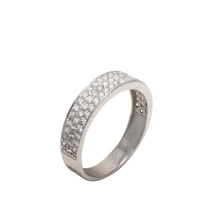 Pavé CZ Anniversary Band. 585 (14K) White Gold