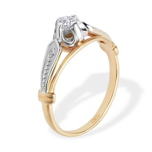 Diamond Stylized Epaulet Ring. 585 (14kt) Rose and White Gold