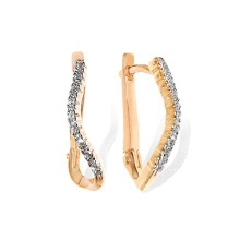 CZ Curved Leverback Earrings