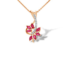 Seven Marqiuse Rubies Diamond Pendant. 585 (14K) Hypoallergenic Rose Gold