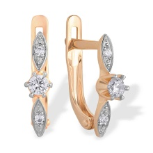 CZ Kids Lever-back Earrings. 585 (14kt) Rose Gold, Rhodium Detailing