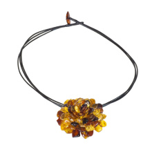 Multicolor Amber Flower Necklace