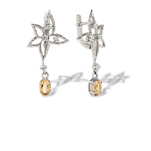 Citrine and CZ Diamond Cut Leaf Earrings