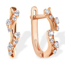 Garland CZ Lever-back Earrings. 585 (14kt) Rose Gold