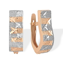 Hand-guilloche Gold Earrings. 585 (14K) Rose Gold