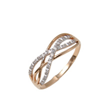 Cubic Zirconia Infinity Ring. 585 (14K) Rose Gold