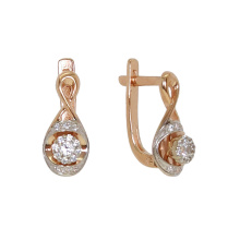 CZ Infinity Leverback Earrings. Hypoallergenic 585 (14K) Rose Gold