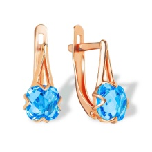 Cushion-cut Blue Topaz Earrings. 585 (14kt) Rose Gold
