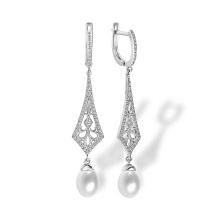 Art Deco-inspired Pearl and CZ Earrings. Hypoallergenic 925 Silver w/ Rhodium Plating
