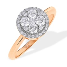Circular Diamond Cluster in Diamond Halo Ring. 585 (14kt) Rose Gold, Rhodium Detailing