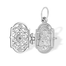 Panagia Eleousa. Diamond Silver Icon Locket