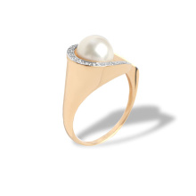 Pearl and Diamond Swirl Ring. 585 (14kt) Rose Gold, Rhodium Detailing