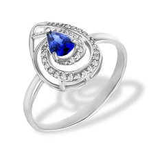 Sapphire and Diamond Pear-shaped Ring. Hypoallergenic 585 (14K) White Gold