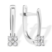 Kids and Teens Diamond Geomertic Earrings. 585 (14kt) White Gold