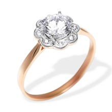 CZ Floral Design Engagement Ring. 585 (14kt) Rose Gold, Rhodium Detailing