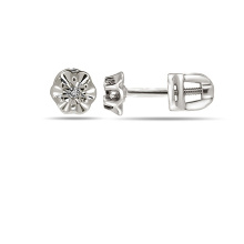 Illusion-set Diamond Stud Earrings. Nickel Free 585 White Gold, Screw Backs
