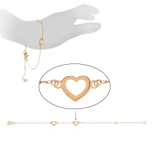 Two Hearts Adjustable Bracelet. 585 (14K) Rose Gold