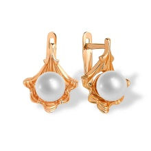 'Pearl-in-Gold-Shell' Earrings. 585 (14kt) Rose Gold