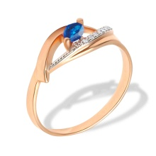 Marquise Sapphire and Diamond Open Ring. 585 (14K) Rose Gold