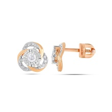 Diamond Knot Stud Earrings. 585 (14K) Rose Gold, Screw Backs