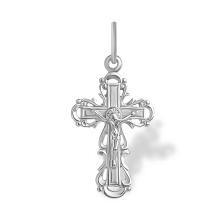 Orthodox Crucifix. White Gold Ukrainian Style Cross
