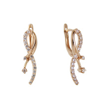 Art Deco CZ Rose Gold Earrings
