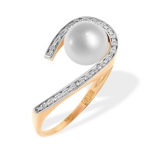 Pearl and Diamond Open Loop Ring. 585 (14kt) Rose Gold, Rhodium Detailing